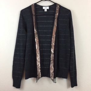 ANN TAYLOR LOFT Open Faced Sequined Cardigan